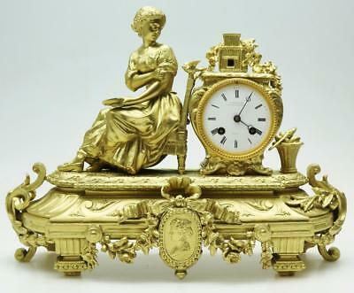 Beautiful Antique 19thc French 8 Day Gilt Metal Classical Figural Mantle Clock