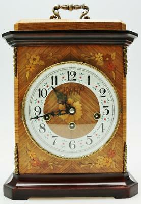 Vintage Hermle Marquetry Inlaid Kingwood Musical Westminster Chime Bracket Clock