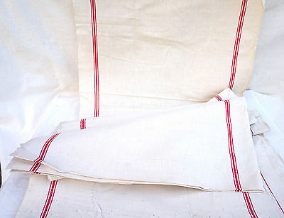 Rare 20 Yards French Red Striped Linen Fabric Toweling Towel Unwashed Uncut A