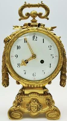 Rare Outstanding Antique 8Day French Empire Embossed Bronze Carrige Mantel Clock