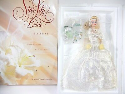 Nib Barbie Doll 1996 Star Lily Bride Wedding Flower Collection Porcelain