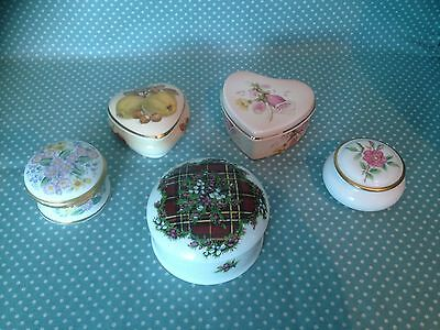 Lot of 5 china trinket boxes.Falcon,Adderley,Jean Vert and 2 x Royal Worcester.