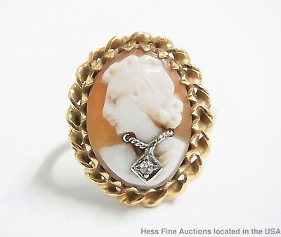14K Gold Cameo Habillé Ring Antique size 6.25 Finely Carved Art Deco