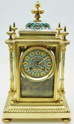 Rare Antique 19thc French 8 Day Bronze & Champleve Enamel 4 Glass Mantel Clock
