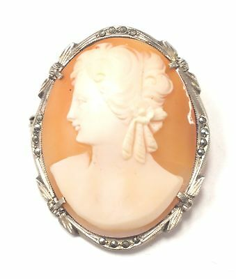 925 STERLING SILVER Marcasite Decorated CAMEO Brooch/Pendant, 8.00g - S22