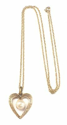 375 9ct YELLOW GOLD Heart Pendant Necklace With Faux Pearl, 1.64g - C04