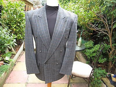 "36/38""med Fit Tweed Check Bespoke Tailored Prince Of Wales Style Coat Jacket"