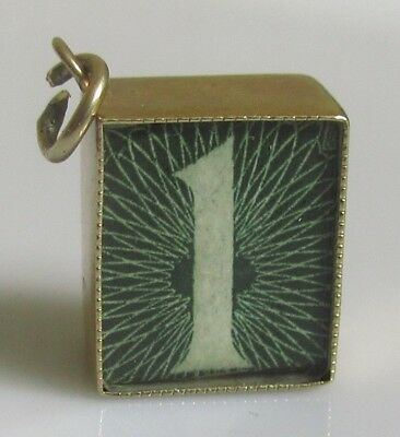 """Vintage 9ct Yellow Gold One Pound Note """"In Emergency Break Glass"""" Charm."""