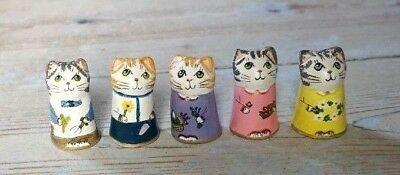 Merryfield Pottery - Hand Painted Trendy Gardener Collection Cat Thimbles
