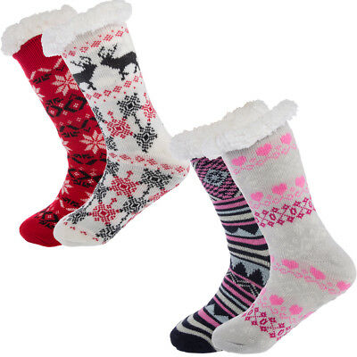 2 Pairs Sherpa Lined Women's Thermal Slipper Socks Nonskid Fuzzy Cozy Shoe 4-10