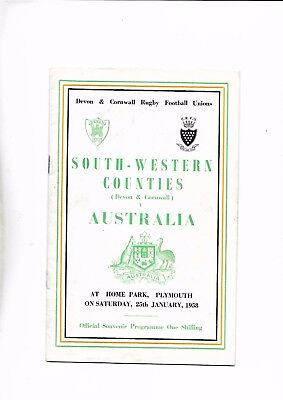 South-Western Counties V Australia 25/01/1958 @ Home Park Plymouth (3)