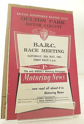 Oulton Park B.A.R.C Motor Race  Programme 29th May 1965