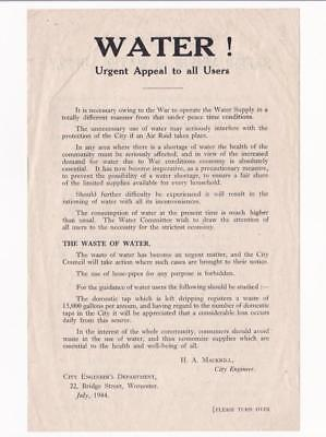 WW2 WORCESTER PUBLIC LEAFLET 1944, WATER SUPPLY_Air Raid Precautions, Home Front