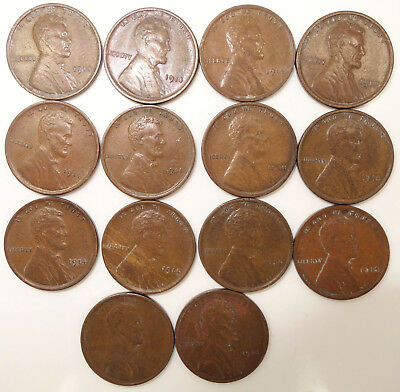 (14) 1914 Philadelphia Lincoln Wheat Cents - You Grade It K16