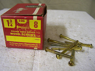 """#8 x 1 3/4"""" Brass Wood Screws Solid Brass Round Head Slotted Made in USA Qty.100"""