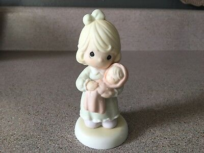 EUC PRECIOUS MOMENTS ALL THINGS GROW With LOVE Figurine 1996 Girl & Baby