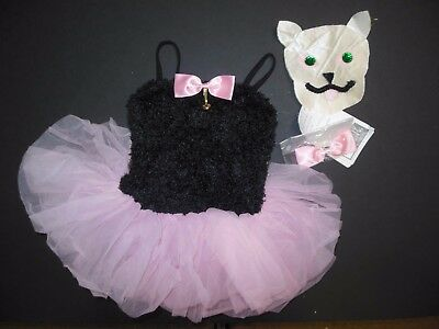 NWT Ballet Costume Girls size 4C Fuzzy Black body for Kitten Free CAT HEAD