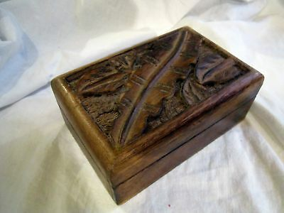 Vintage Oceanic Décor Wooden Carved Box