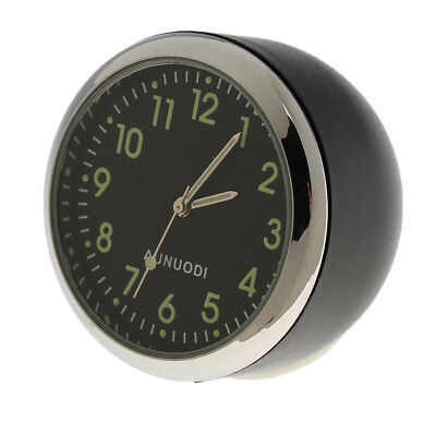 Fluorescent Black Car Dash Self Adhesive Analog Time Clock Round Decoration