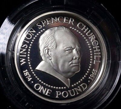Guernsey, £1 One Pound, Silver, Proof, Winston Spencer Churchill, 1999, COA Rare