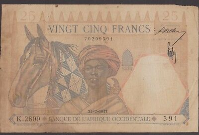 French West Africa 24-2-1942 25 Francs HORSE, LION  P-27  391