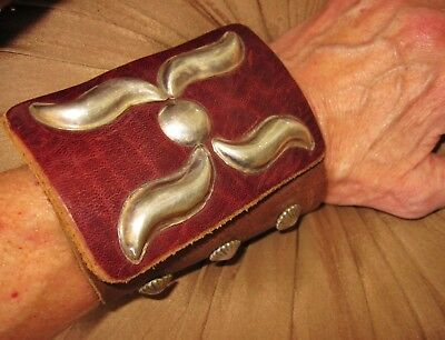 Navajo Old Bow Guard - Sterling Silver, Supple Broken In Leather, Ray Benally