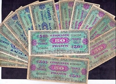 15 pcs Mixed Of 100 & 50 Francs From France