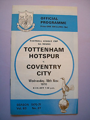 Tottenham Hotspur v Coventry City programme 1970 League cup 5th round mint con
