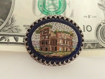 Antique 19thC Sterling Micro Mosaic/Micromosaic BROOCH/Pin-Architechural-Italy