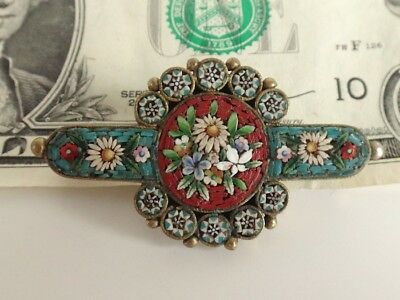 Antique 19thC Victorian Micro Mosaic/Micromosaic BROOCH/Pin-FLOWERS-Italy