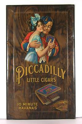 1920s TIN LITHOGRAPH ADVERTISING SIGN FOR AMERICAN CIGARS - PICCADILLY CIGARS