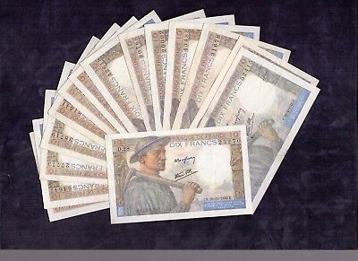 15 Pcs Of 10 Francs Mineur From France