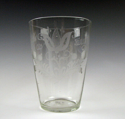 Large Early Free Blown Antique Flint Glass Stiegel type Flip with Engraved Tulip
