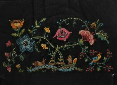 Jacobean Floral Tree of Life Pillow Top Vtg Finished Completed Crewel Embroidery