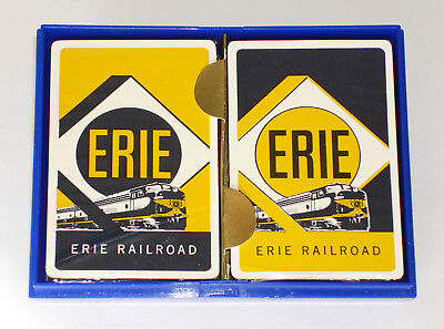 1950s ERIE RAILROAD Playing Cards - 2 Decks Sealed - Plastic Box