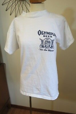 "Vintage 70's 80's Olympia Beer T-Shirt ""It's the Water"" Good Luck, Size Small"