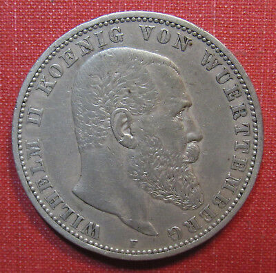 1895F Wurttemberg, German States 5 Mark - Excellent Detail, Large Silver Coin!