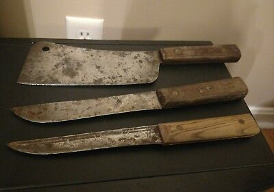 "Vintage Cutlery - 2 Carbon Steel Butcher Knives & 7"" Cleaver"