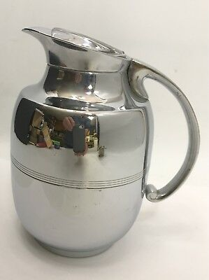 MANNING-BOWMAN ART DECO CHROME THERMOS PITCHER w/Glass Lid