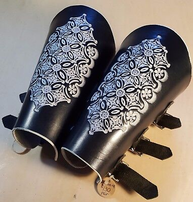 """10"""" XXL Wide Cut Pair White/Black Hand-Tooled Leather Buckle Costume Bracers"""