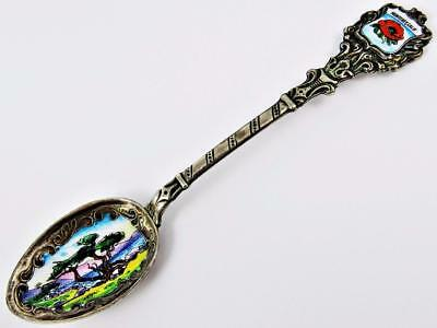 Antique Monterey, California Lone Cypress German Silver & Enamel Souvenir Spoon