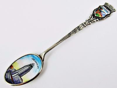 Antique City Hall, Los Angeles, California German Silver & Enamel Souvenir Spoon