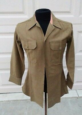 WWII US Army Wool OD 33 Enlisted Shirt size  16 x 31 Special