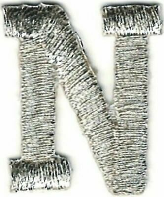 "1/"" Tall Bright Metallic Silver Monogram Block letter Q Embroidery Patch"