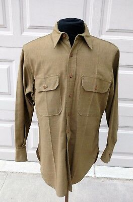 WWII US Army Wool OD 33 Enlisted Shirt size  15 x 35