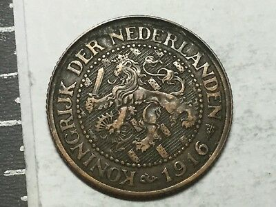 NETHERLANDS 1916. 2 1/2 Cent coin nice condition