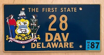 "Delaware Dav Disabled American Veteran Vet License Plate "" 28 "" De Low Number"