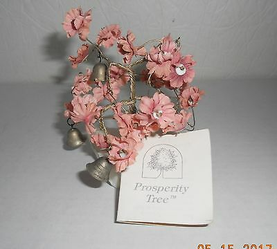 Prosperity Bonsai Tree Twisted Brass Stems, Many Bells Pink Blossoms