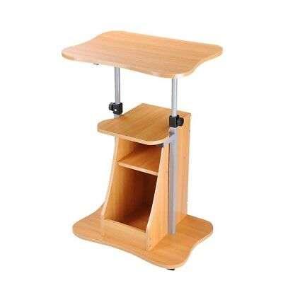 Adjustable Height Rolling Mobile Stand Laptop Desk Cart w/ Storage Office Beech