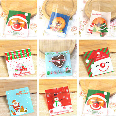 25x Pop Self Adhesive Cookie Candy Package Gift Bags Cellophane Christmas Party